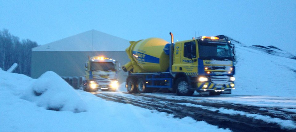 Concrete Trucks in Snow